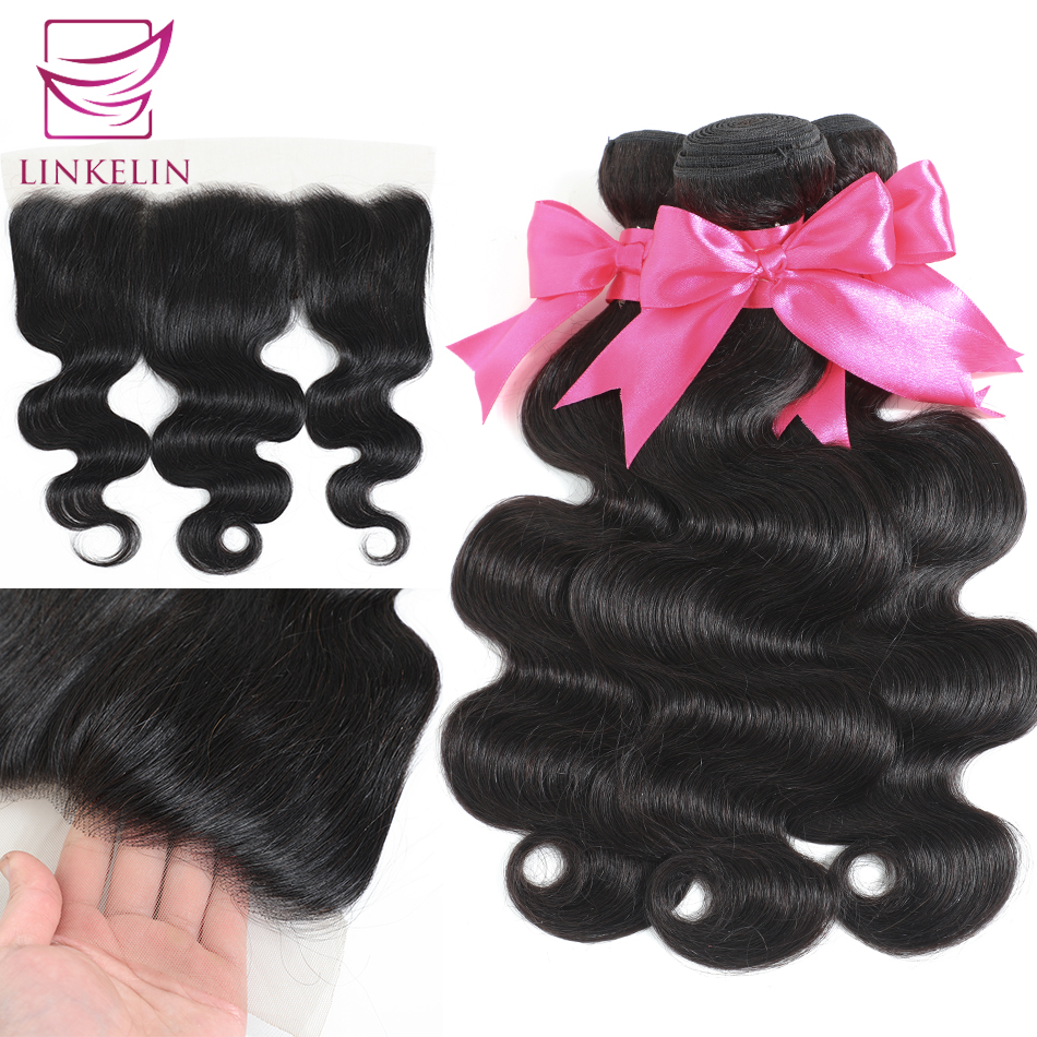 LINKELIN HAIR Mongolian Human Hair Bundles With Frontal 13*4 Pre Plucked Lace Frontal Remy Body Wave Bundles With Frontal