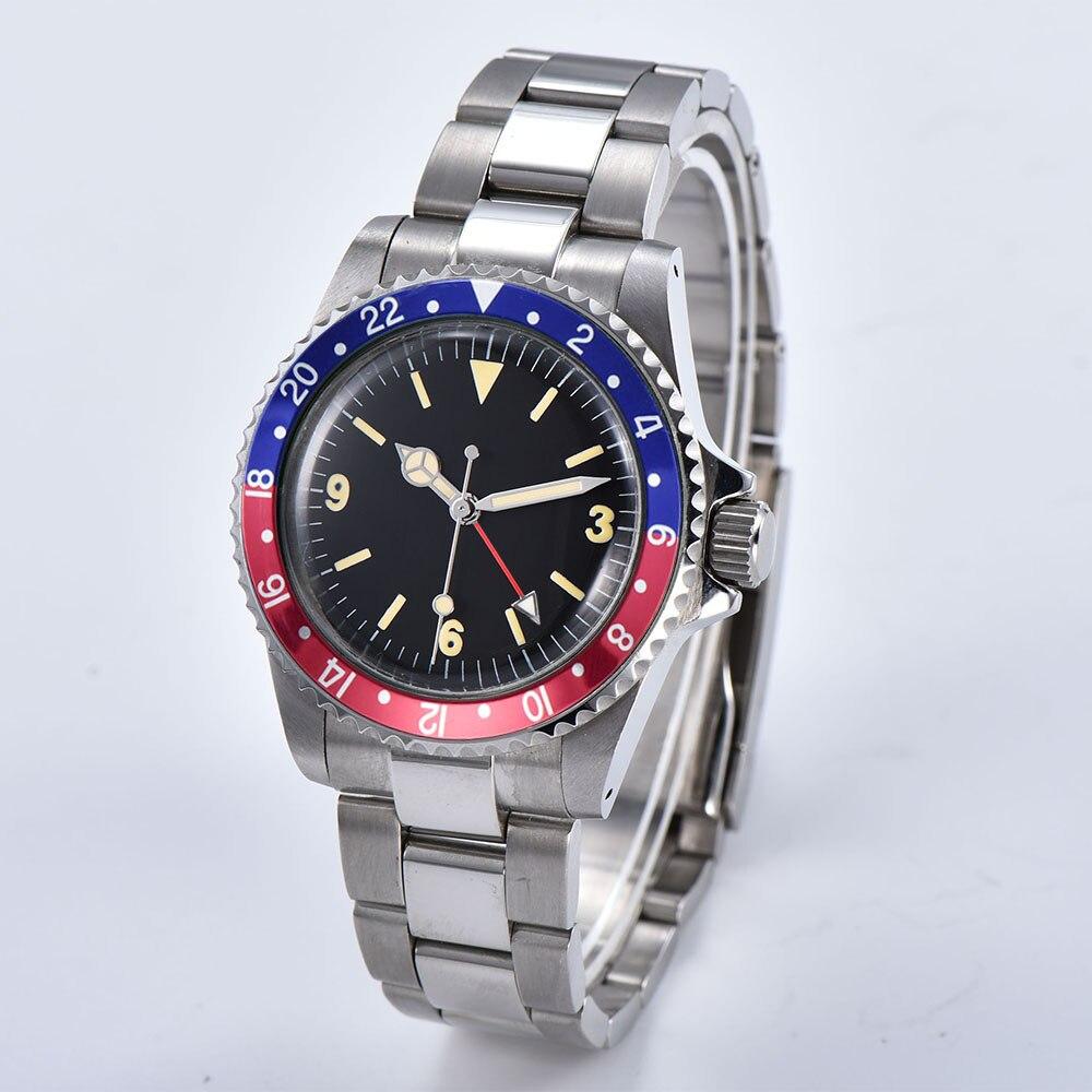 Montre homme automatique mécanique 39.5mm noir stérile cadran bleu rouge feuille d'aluminium lunette rétro lumineuse GMT 01