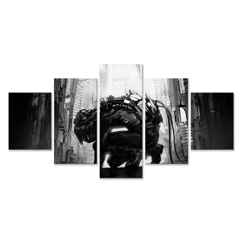 Cyberpunks Monochrome Robot Canvas Painting Wall Artwork Home Decoration 5 Panel Poster Modern Modular Picture(China)