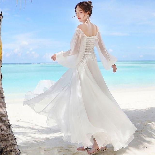 Off Shoulder Chiffon Fairy Style Dress 3