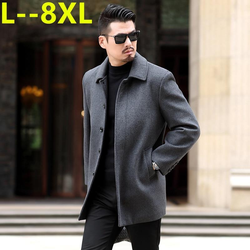 8XL 6XL 5XL Wool Blend Men's Coat Woollen Overcoat Winter Autumn Men Coat Fashion Brand Clothing Lined Warm Woolen Overcoat Male
