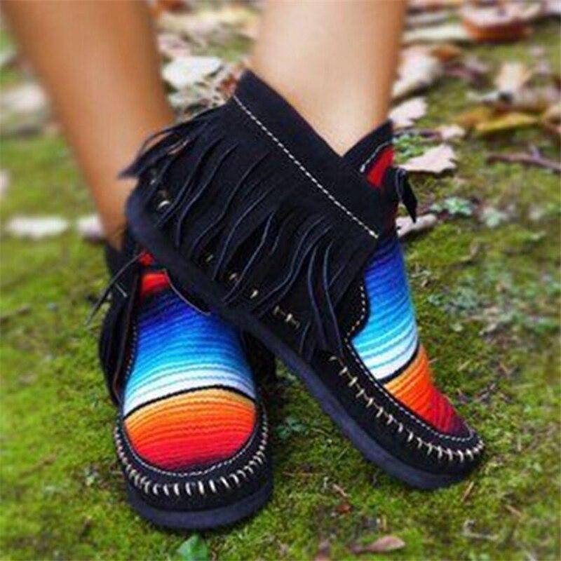 Mais tamanho botas curtas mulheres 2020 franjas