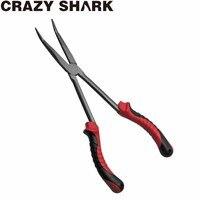 Crazyshark 낚시 펜치 후크 리무버 구부러진 긴 코 낚시 펜치 낚시 잉어 물고기 도구에 대한 11 인치 스테인레스 스틸 용품