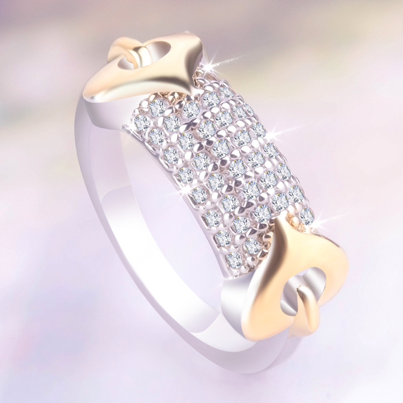 Fashionable Beautiful Lady Ring Romantic Double Love Mosaic Top Zircon CZ Leisure Jewelry Delicate Gift Temperament Women's Ring