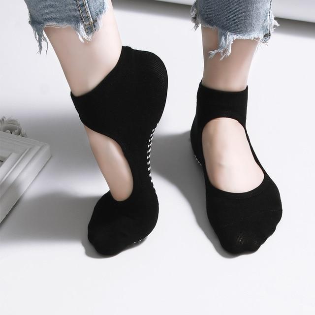 Hot Sale New 1pair Wear resisting Backless Antibacterial Ankle Yoga Socks Cotton Anti slip Ballet Pilates Dacing Barre Sock