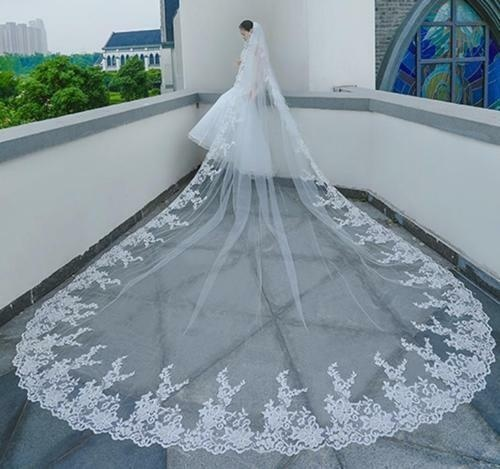 Wedding Veils Cathedral Length Bridal Accessories Long Veil With Comb Lace Edges velos de novia 2020