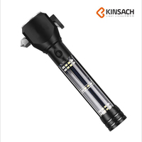 Strong Light Flashlight Outdoor Multi functional Solar Torches Emergency Hammer Car Warning Lamp With Alarm BJ T01