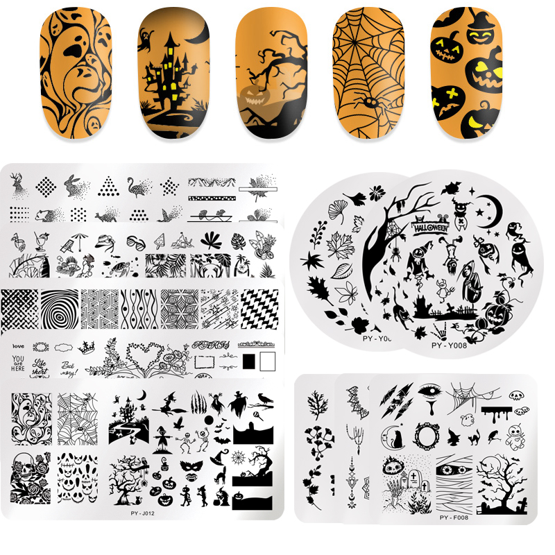 PICT YOU Halloween Nail Stamping Plates Pumpkin Flowers Animal Tropical Geometry Pattern Nail Art Image Lace Stamp Templates-in Nail Art Templates from Beauty & Health