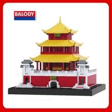 Balody China Famous Architecture Model Set Yueyang Tower  Dayan Pagoda Xi'an Bell Tower Micro Mini Blocks Toys 3D Brick For Kids