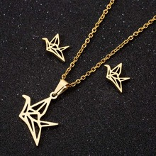 Paper Crane Necklace Pendants Gold Color Necklace for Women Fashion Stainless Steel Hollow Necklaces Wedding Jewelry Girl Gifts high quality fashion gents women stainless steel health jewelry anion fir germanium gold necklace pendants
