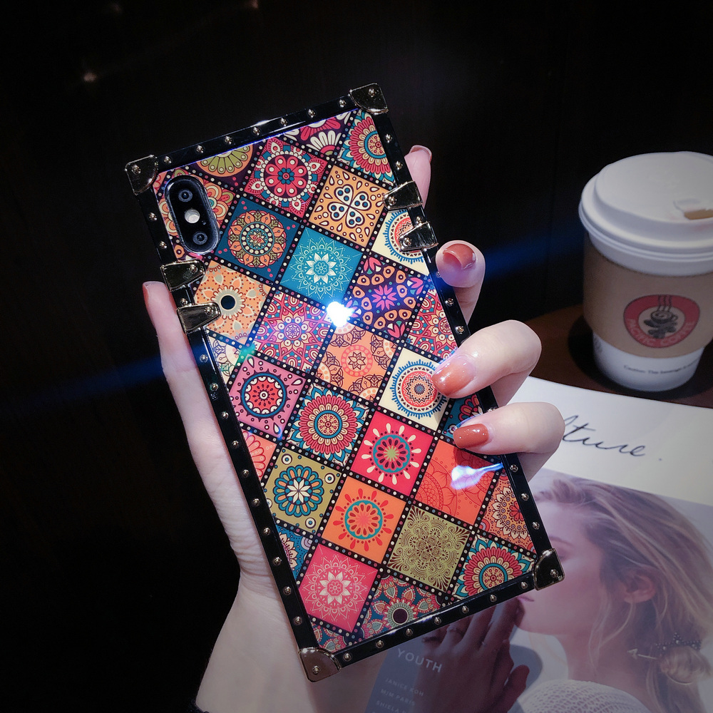 Cover For iPhone 11 Pro Max Case Square Blue Ray Chinese Diamond Ring Stand Girly Coque For iPhone X XR XS Max 6s 7 8 Plus Case (7)