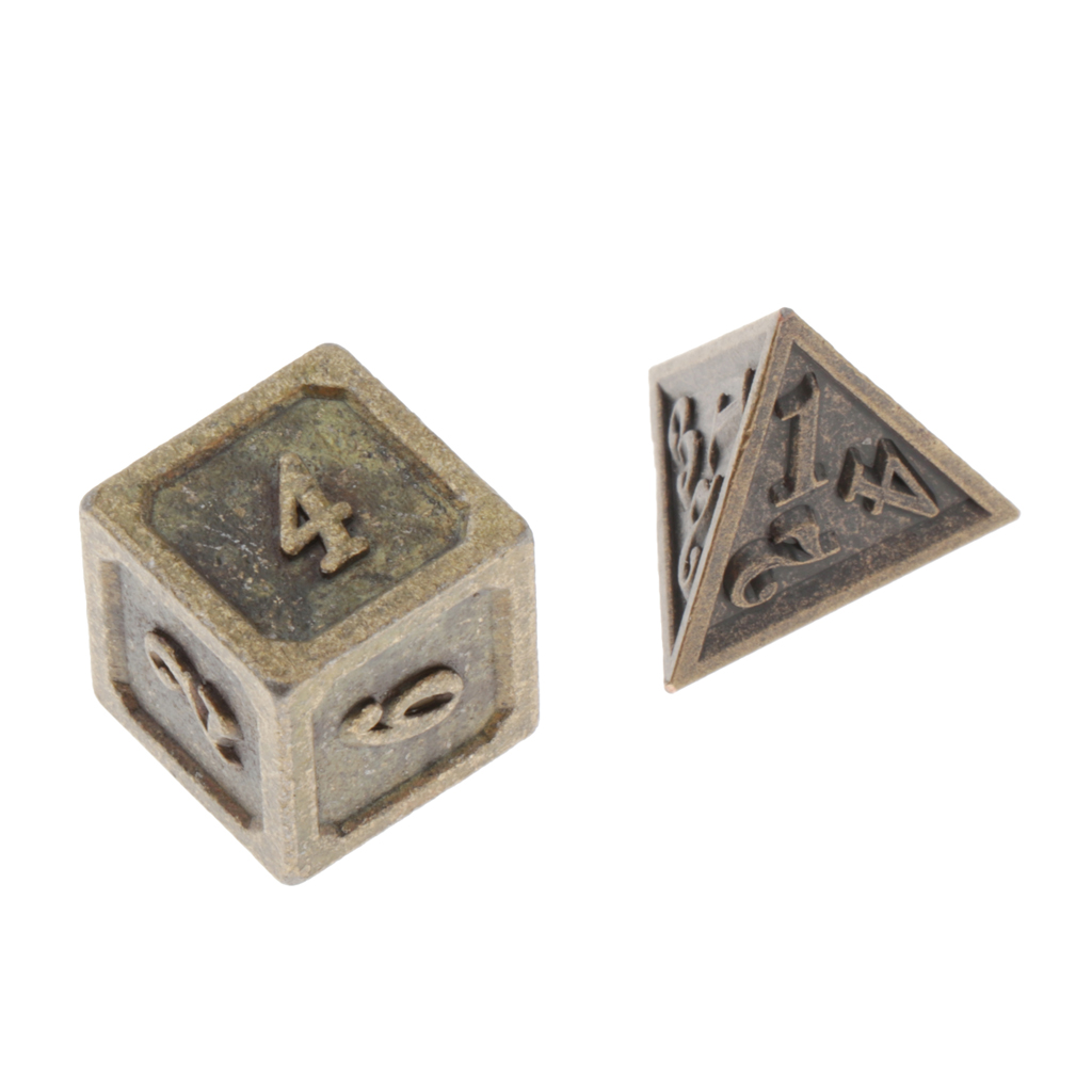Antique Copper Solid Metal Polyhedral D&D Dice, Set Of 7 Old Copper Metal RPG Role Playing Game Dice, 7 Pcs Set