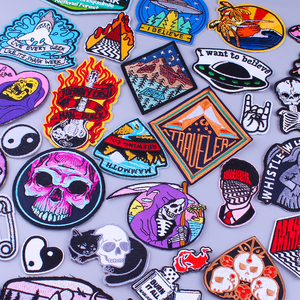 Prajna Punk Skull Grim Reaper Patches UFO Embroidered Patches For Clothing DIY Iron On Biker Patches Stripes Badges On Clothes