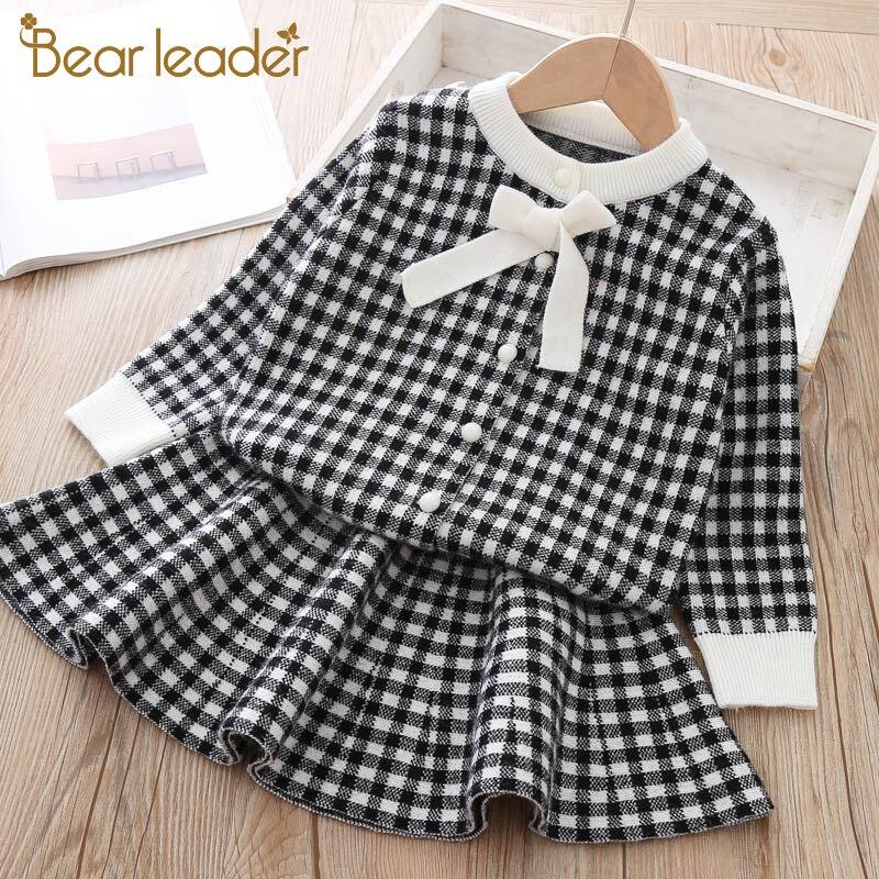 Girls Dress Bear Leader Knitted Winter Clothing Kids Children Sweet Plaid 3-7y Soft New