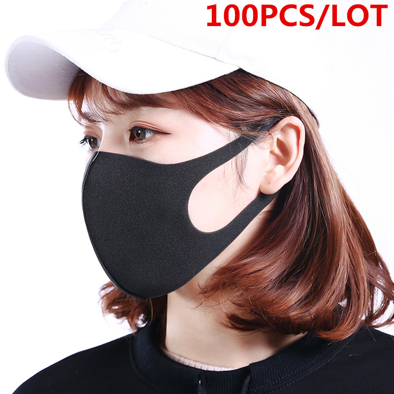 100 Pcs/Lot Anti Dust Face Mouth Cover Mask Respirator Dustproof Anti-bacterial Washable Reusable Comfy Masks