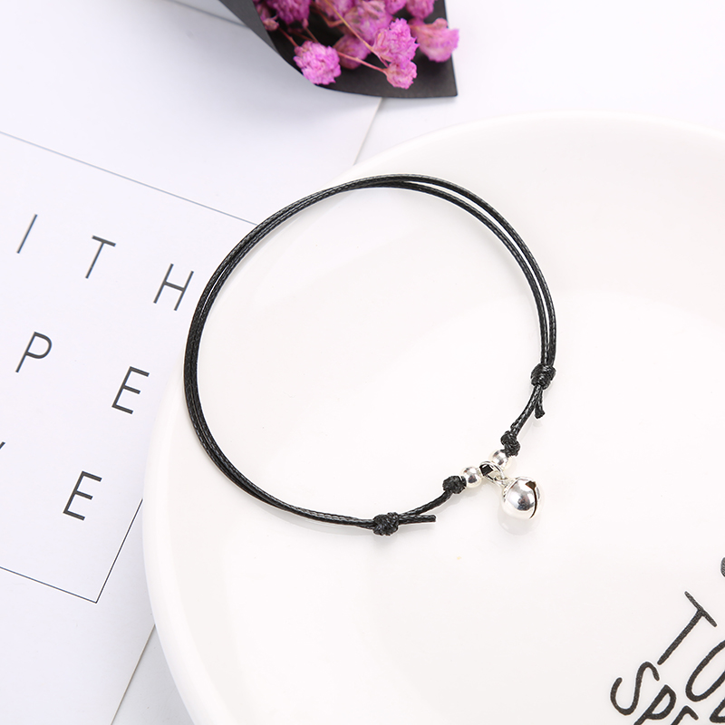 2019 New Fashion Anklets for Women Simple Handmade Black Red Rope Chain Adjustable Ankle Bracelet Personality Bell Anklets