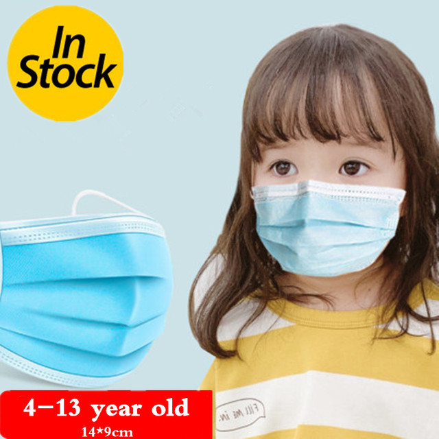 100Pcs 3 layer Disposable Elastic Mouth  Blue Soft Breathable Flu Hygiene Child Kids Face Mask Dropshipping 1