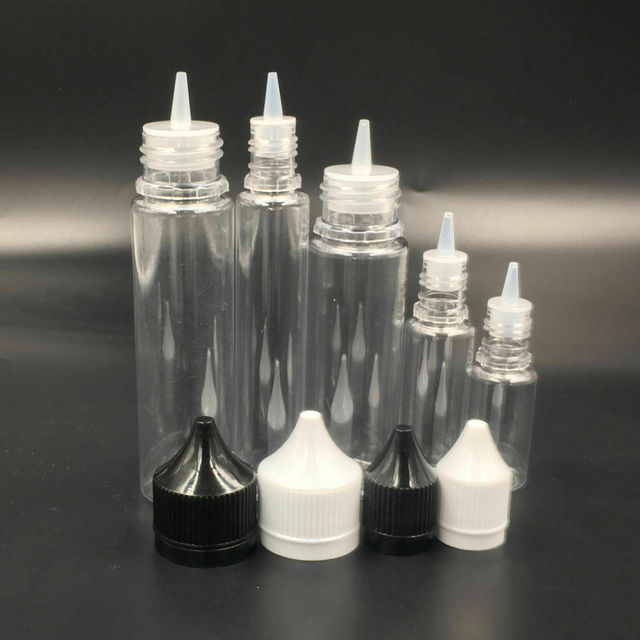 10pcs 10ml/30ml/50ml/60ml/100ml/120ml Plastic PET Water Liquid E Juice Dropper Eye Clear Bottle Pointed Tip Caps Vape Containers