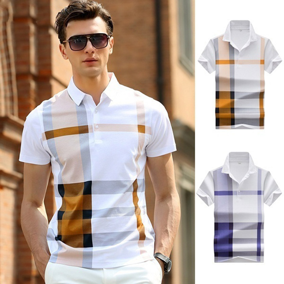 ZOGAA Summer Men Polo Shirt Short Sleeve Cotton Polo Shirts Male Lapel Button Patchwork Business Casual Polo Shirts  Plaid Shirt