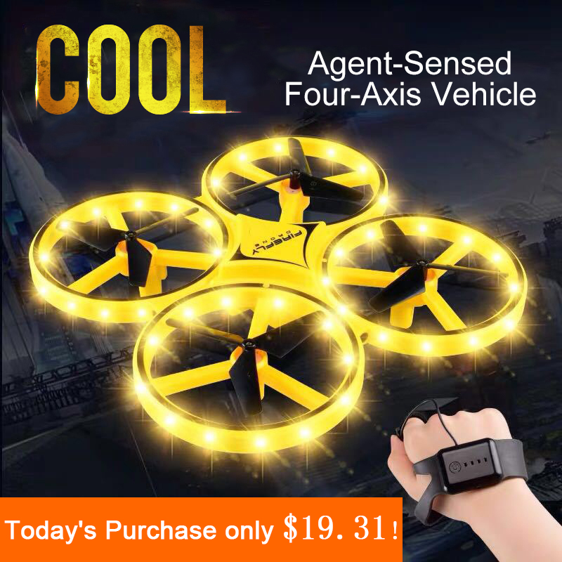 Mini Quadcopter Induction Drone Smart Watch Remote Sensing Gesture Aircraft UFO Somatosensory Noctilucent Interaction Uav