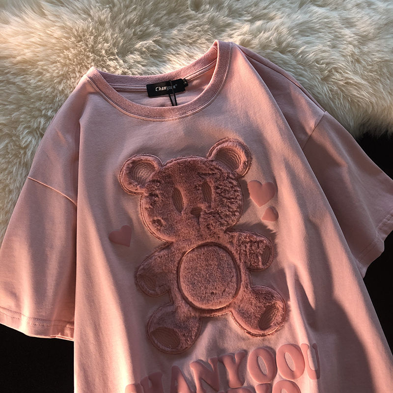 Cotton Japanese Love Bear Couple Short Sleeve Top 2021 Early Spring Oversize Loose sweatshirt for Women 1