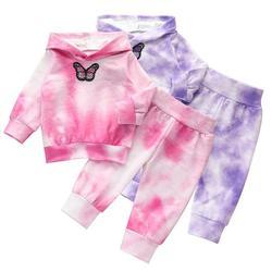 Nova/Одежда для маленьких девочек, хлопчатобумажный Детский костюм, одежда для мальчиков, принт с героями мультфильмов «бабочка» свитер с кап...