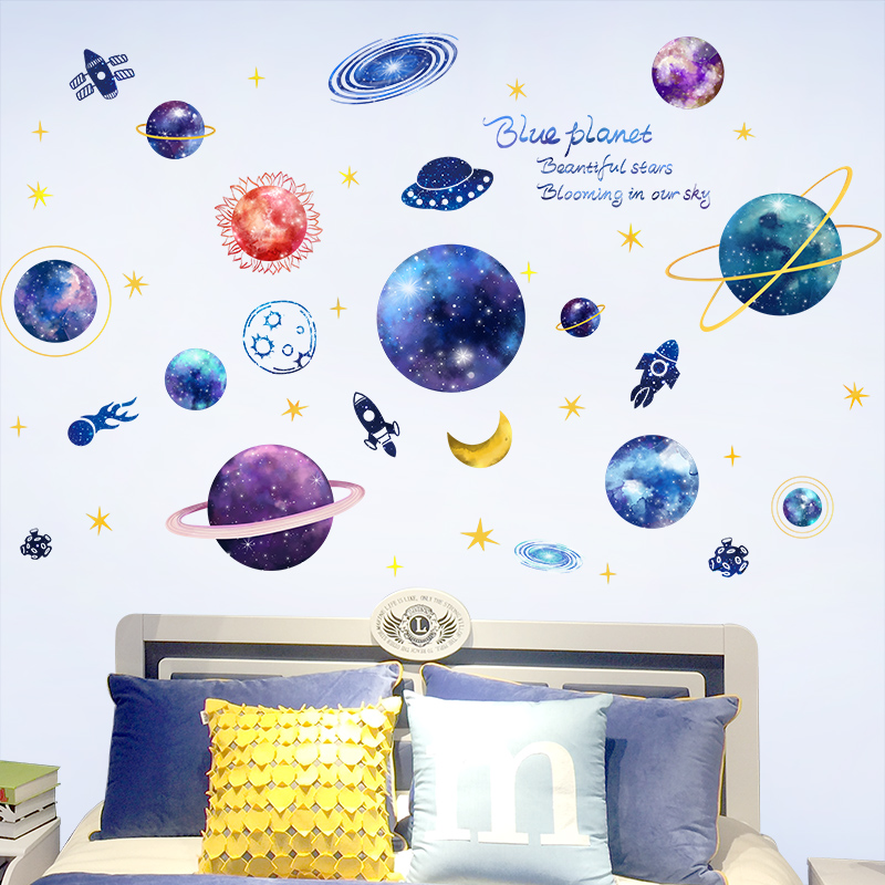 [shijuekongjian] Outer Space Wall Stickers Vinyl DIY Cartoon Planets Wall Decals for Kids Rooms Baby Bedroom Ceiling Decoration
