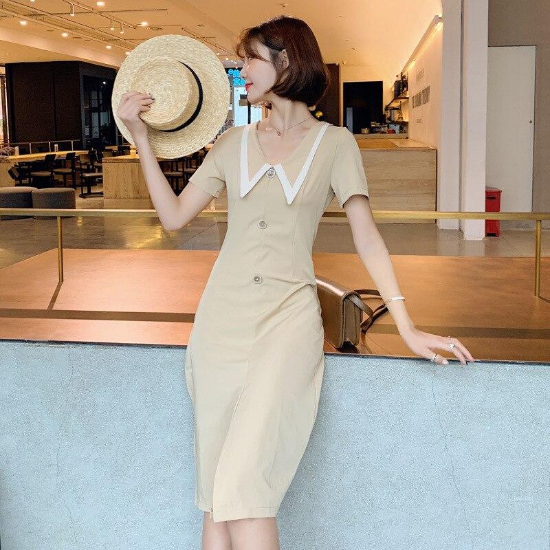 Photo Shoot 2019 Summer New Style Retro Elegant Reversible V-neck Black Dress Mid-length Slit Holiday Dress