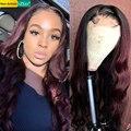 SEXAY 99J волнистые человеческие волосы с закрытием, 4x4 парик на шнуровке 150% темно-винно-бордовый цветной бразильский парик для волос