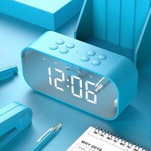 Image 4 - 블루투스 5.0 휴대용 무선 미러 스피커 열 서브 우퍼 음악 사운드 박스 LED 시간 스누즈 알람 시계 노트북 전화 번호