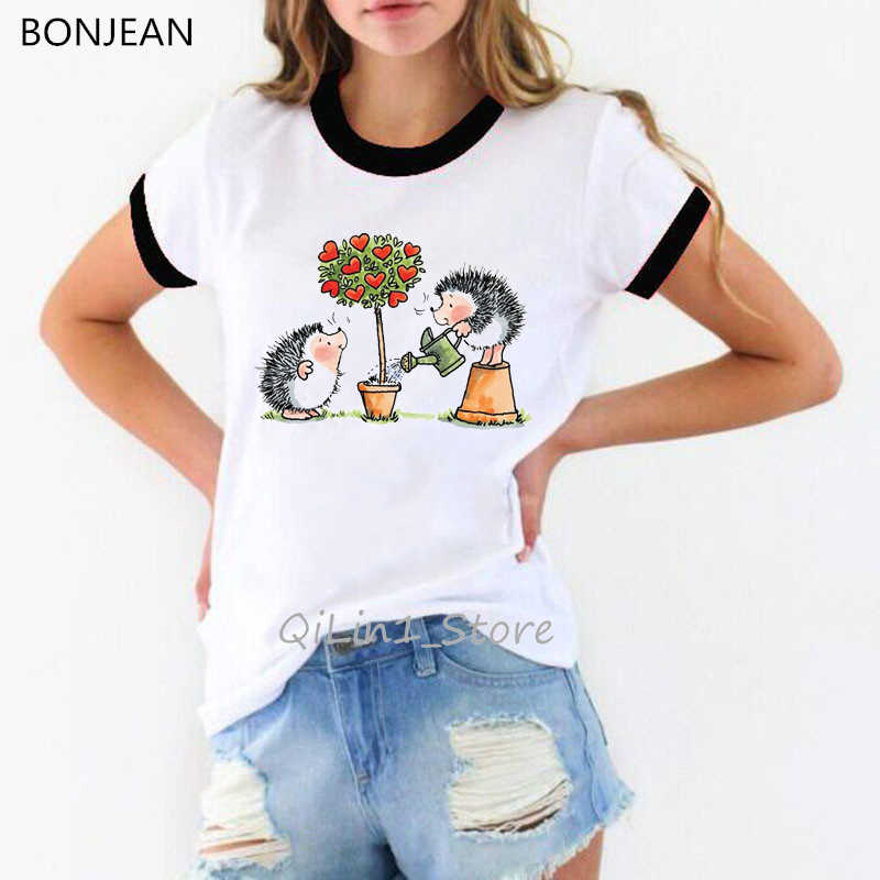 Leuke Egel Ontwerp Grappige T-shirts Vrouwen Harajuku Kawaii Animal Print Wit T-shirt Femme Kerstcadeau Basic Tshirt Tops Tees