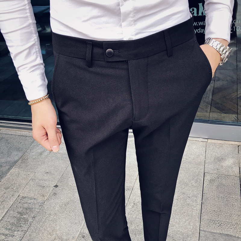 2018 Men'S Wear Autumn Men Korean-style Casual Capri Pants Youth No Ironing British Style Skinny Trousers Slim Fit Suit Pants