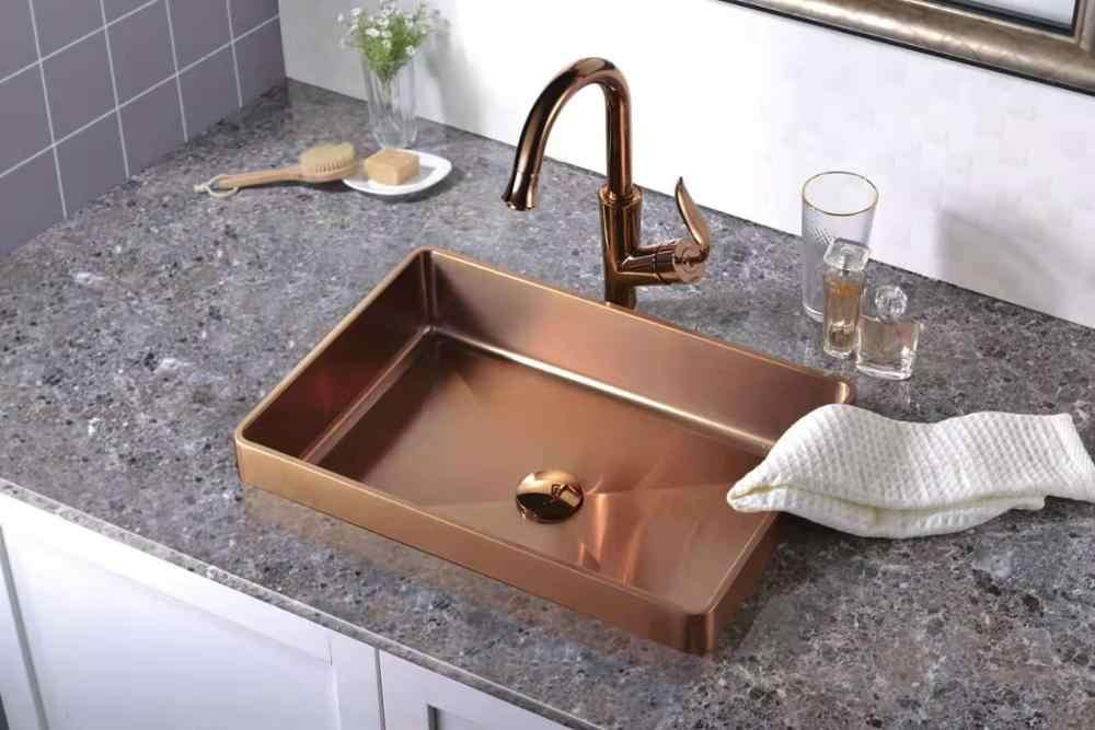 Bathroom Sink Pvd Coating Rose Gold Sit