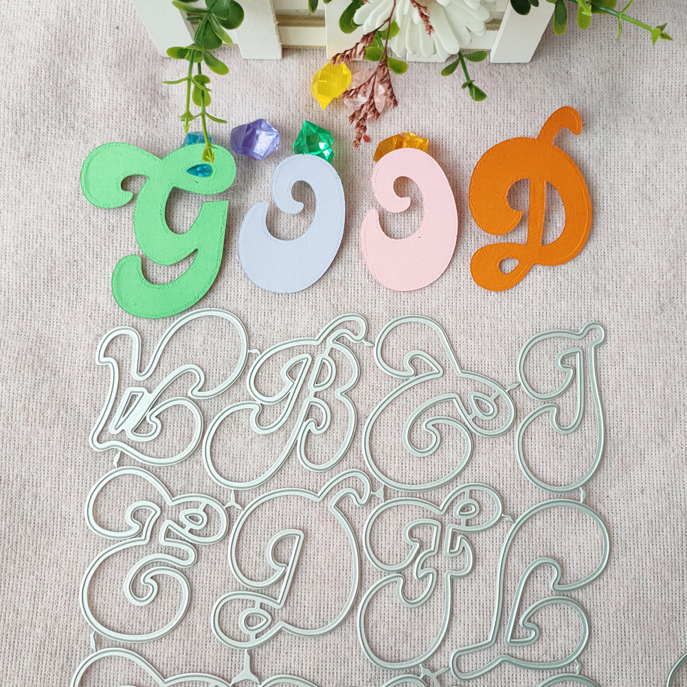 New Large Big Alphabet Set Die Cut Letter Metal Cutting Dies Stencil Scrapbooking Embossing New Christmas Craft Stamps And Dies