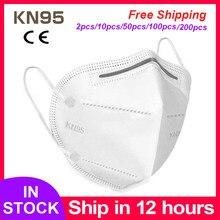 KN95 máscara facial y para la boca hombre mujer máscaras de protección a prueba de polvo boca cara Mascarilla Anti-niebla transpirable 5 capas cara máscaras de filtración