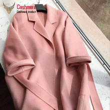 women #8217 s coat High quality water ripple double-faced cashmere coat women #8217 s long windbreaker new wool coat women winter red coat cheap OKOUFEN 9117 Ages 18-35 Years Old Turn-down Collar Belt REGULAR Full Slim Wool Blends Pockets Sashes 100 Casual Solid
