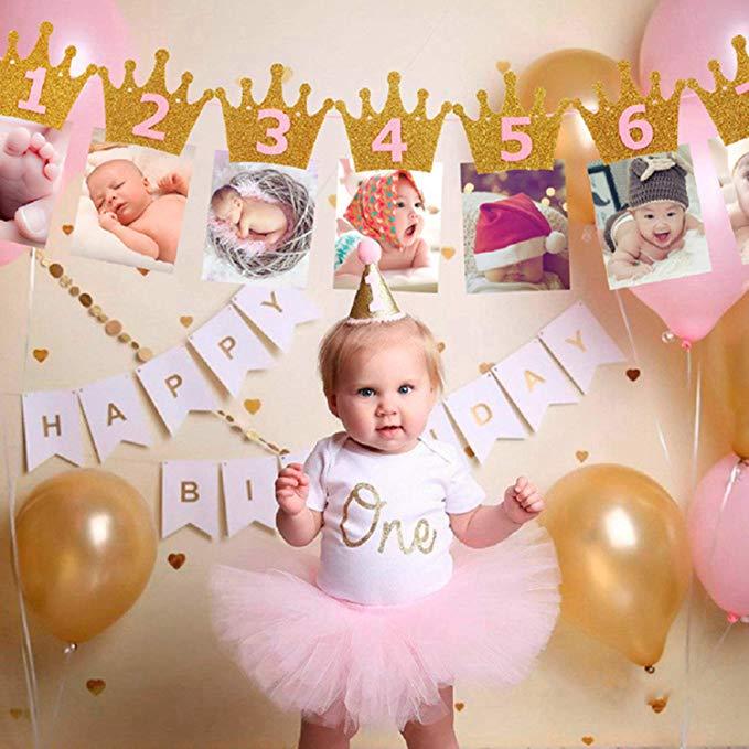 12 marco de fotos de meses Banner primer adornos de feliz cumpleaños 1st bebé niño niña un año de fiesta oro rosa oro plata