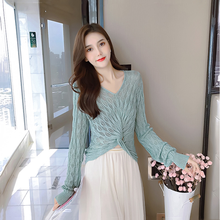 2020 new sexy long-sleeved all-match small shirt hollow knit V-neck short crop top women(China)