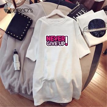 Women Dresses NEVER Series Letter Plus Size Black Mini Dress Loose Summer Long T Shirt Casual Clothes Femme Tops White Sukienka 66