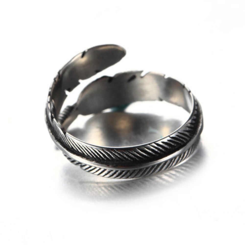 Новинка! старинные Стиль леди гипоаллергенно серебряные украшения цвет под старину с перо Открытые Кольца для Для женщин