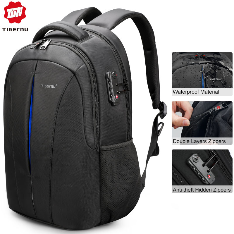 Tigernu USB Recharging Men 15.6 Inch Laptop Backpacks Student Schoolbag For Boys Waterproof Quality Male Rucksack Mochila Bag
