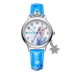 Enfants montres enfants montres pour enfants gelé Ⅱ Disney princesse série de luxe Bling strass couronne flocon de neige pendentif fille cadeau
