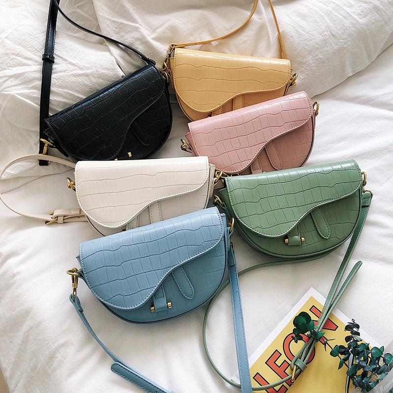 Elegant Women Crossbody Bag Fashion Crocodile Semicircle Saddle Bag PU Leather Shoulder Bags For Female Handbags Designer Bolsas