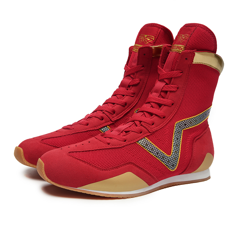 Men Professional Sport Boxing Shoes High Top Male Gym Wrestling Shoes Red Black Anti-Slip Man Fighting Weightlifting Sneakers