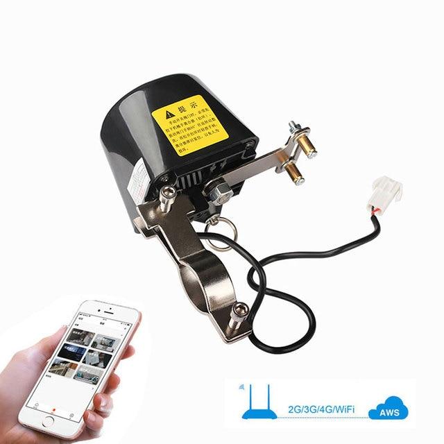 "Wifi Gas Pijpleiding Automatische Manipulator Valve Ball 1/2 ""3/4"" DN15 DN20 Valve Voor Gas/Water Uitschakeling Cut off Vlinderklep 12V"