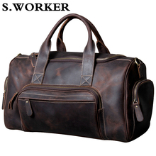 Men's Travel Bag Crazy Horse Leather Large Capacity Travel Duffel Cowhide Weeken