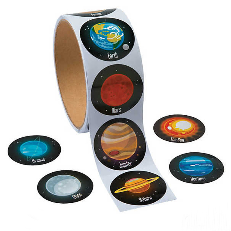 100 pièces rond univers espace extérieur autocollants système solaire terre Mars Jupiter planète bricolage autocollant d'étanchéité fête autocollant décalcomanies jouet