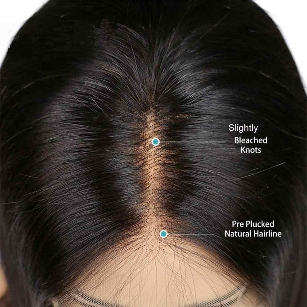 Avejoice krótka, koronkowa peruka z ludzkimi włosami dla kobiet 100% brazylijska Bob koronkowa peruka na przód wstępnie oskubane z dziecięcymi włosami