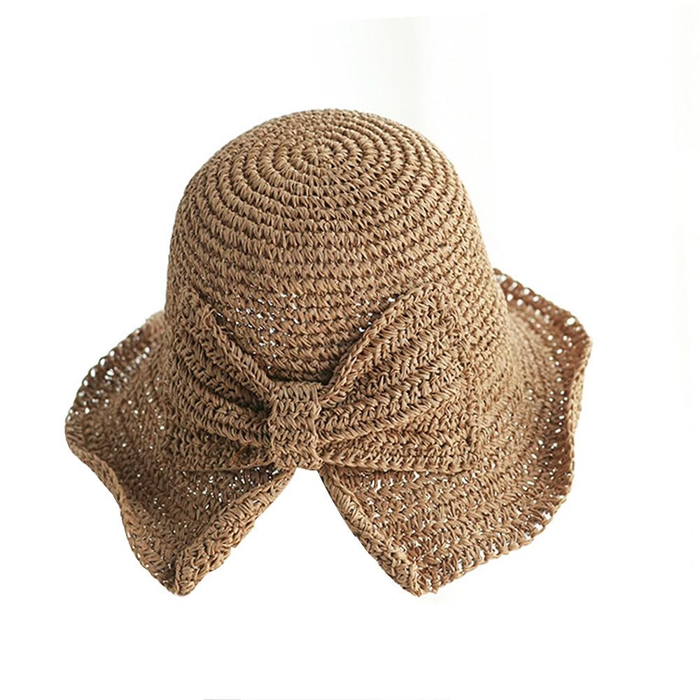 Small Edge Split Straw Hat Female Summer Bow Sun Hat Floppy Hats Women Beach Straw Dome Bucket Hats Bow Fisherman Foldable Visor