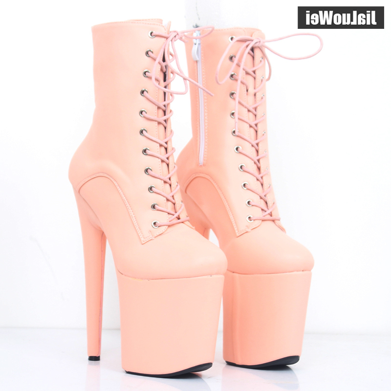 New 20CM Super High Heel Platform Lace-up Ankle Boots Spike Heels Sexy Feitsh Women Dance Party Show Shoes